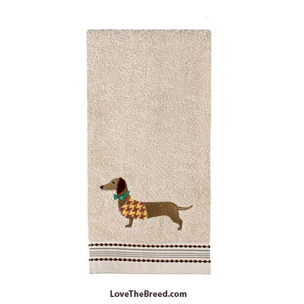 Dachshund Hand Towel Sweater and Bow Tie