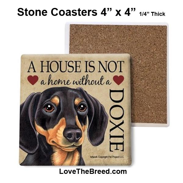 Square Stone Coasters - Dachshund Short Hair Black and Tan