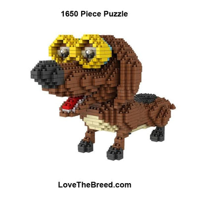 Dachshund with glasses mini blocks puzzle 1650 pieces