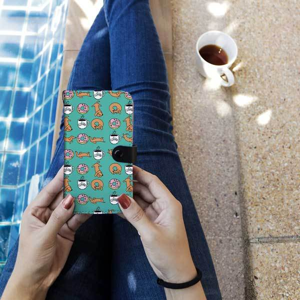 Cell Phone Wallet Cases Dachshunds Coffee and Donuts