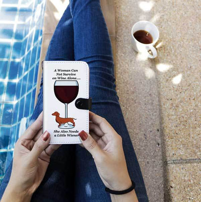 Cell Phone Wallet Cases Brown Dachshund and Wine
