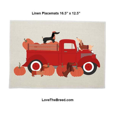 Dachshunds Fall Harvest Linen Placemat