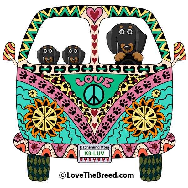 Dachshunds Love Bus Black + Tan Dog Extra Large Tote