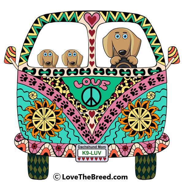 Dachshunds Love Bus Brown Dogs Night Shirt / Beach Cover-up