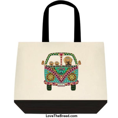 Dachshunds Love Bus Brown Dog Extra Large Tote