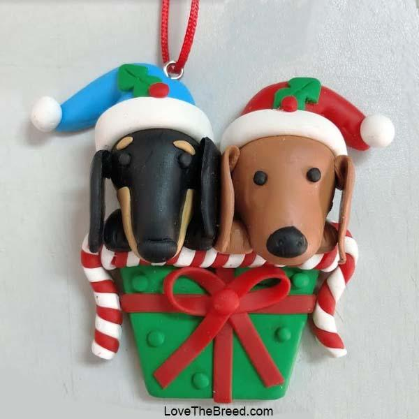 Dachshunds Holiday Gift Handmade Ornament Collectible