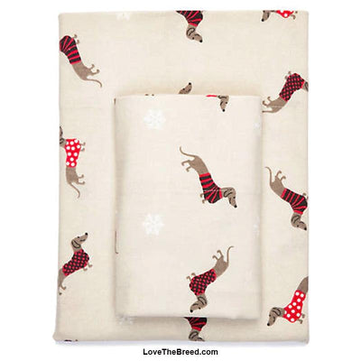 Dachshunds in Red Sweaters and Snowflakes FLANNEL SHEET SET