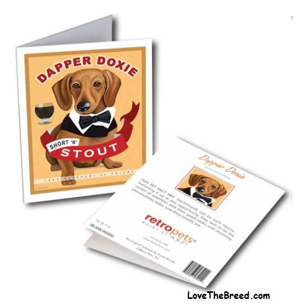 Dapper Doxie Note Card - with Envelope + FREE SHIPPING