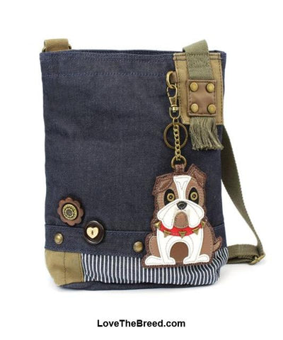 Bulldog Patch Crossbody Bag Adjustable Strap Chala