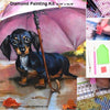 Dachshund Under Umbrella Diamond Painting Kit