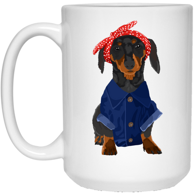 Dachshund Black and Tan Dog Rosie the Riveter Mugs