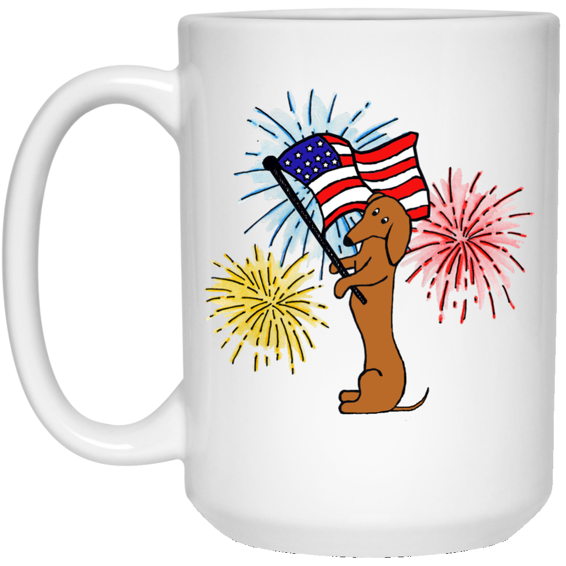 Dachshund Tan Patriotic Celebration Mugs