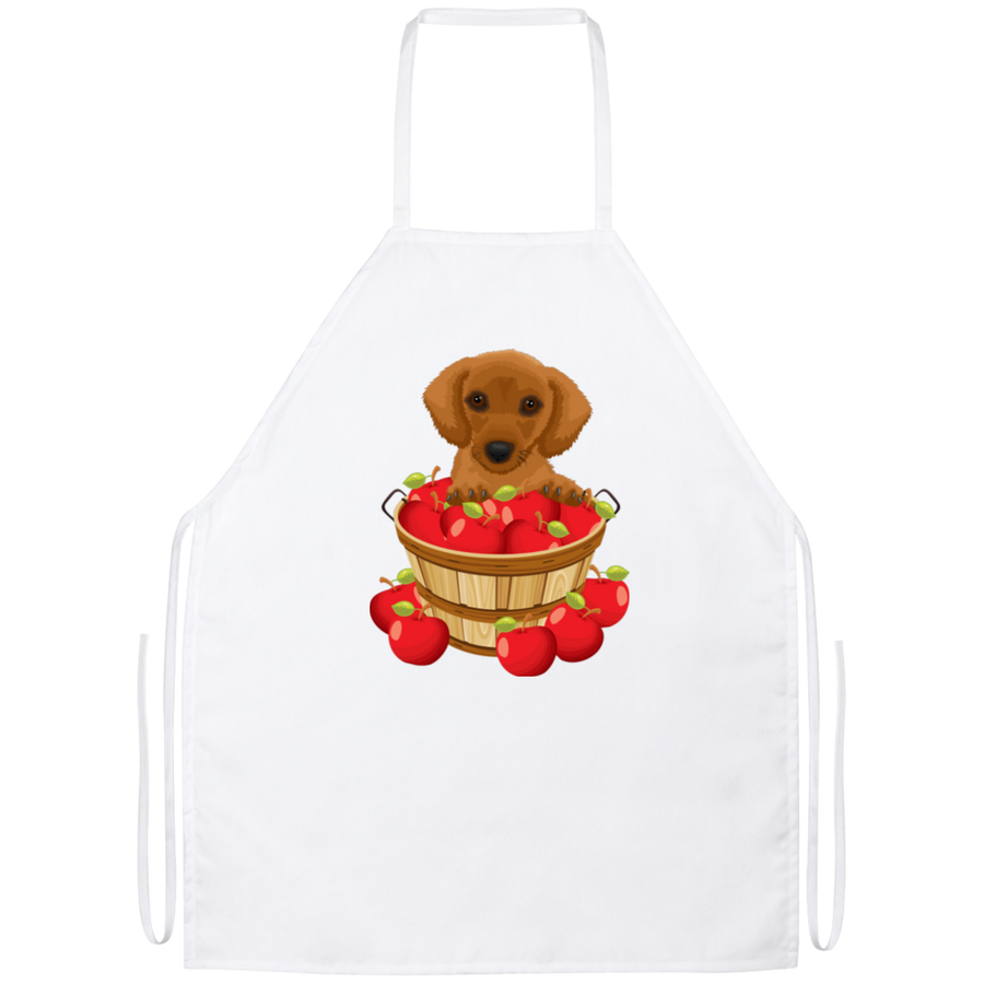 Dachshund Brown in Apple Basket Apron