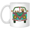 Dachshunds Love Bus Brown Dog Mugs