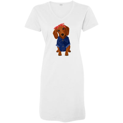 Dachshund Brown Dog Rosie the Riveter Night Shirt / Beach Cover-up
