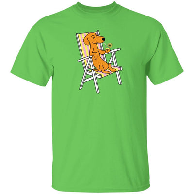 Dachshund on Beach Chair with Lemonade T-Shirts + Long Sleeves
