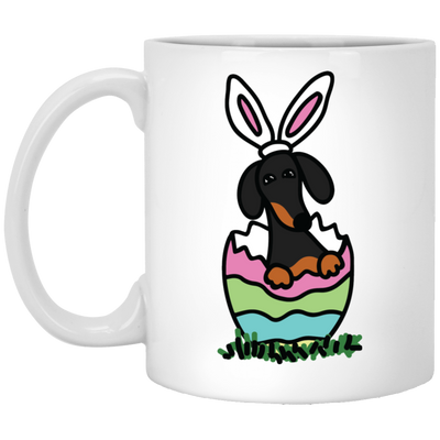 Dachshund Easter Egg Hatch Black and Tan Mugs