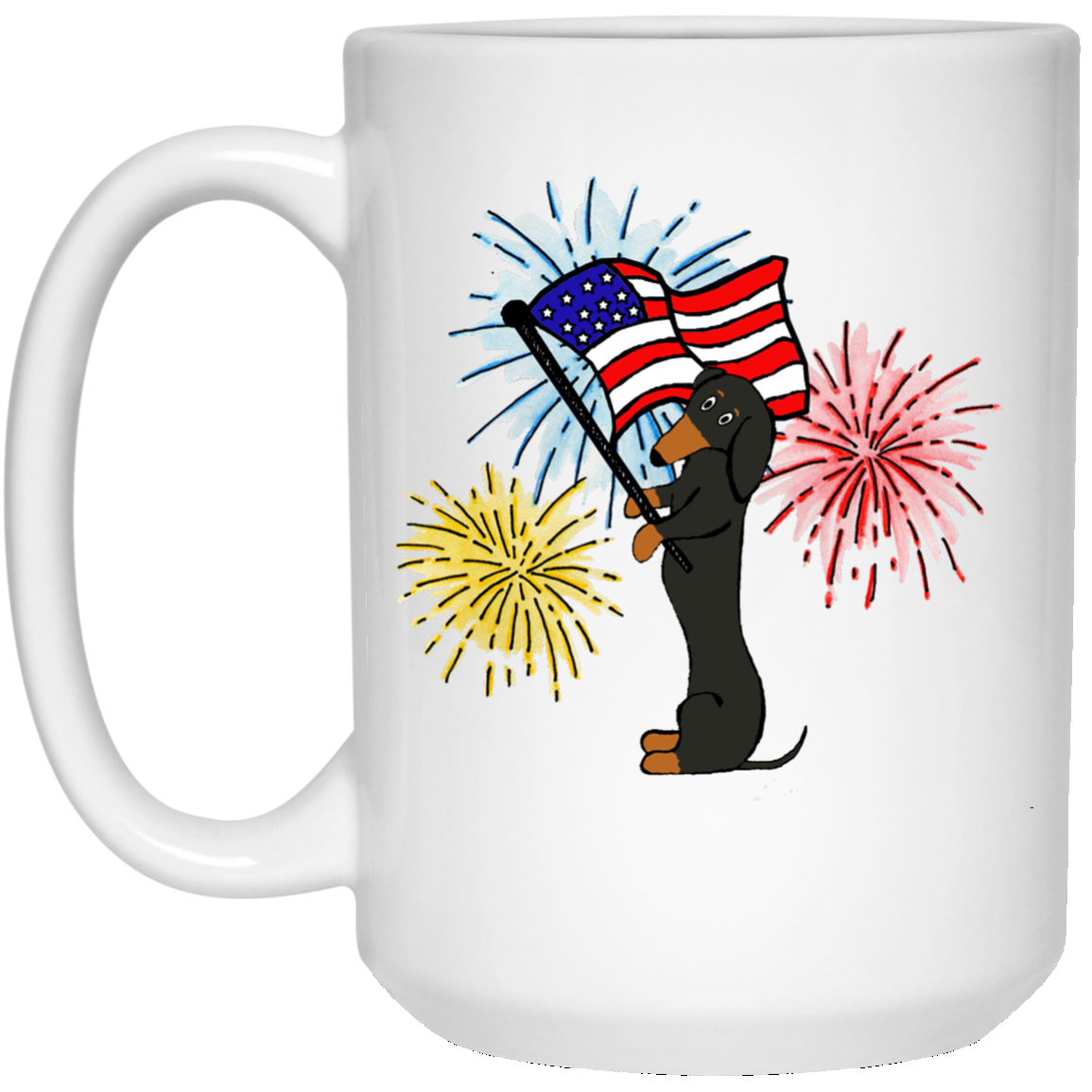 Dachshund Black + Tan Patriotic Celebration Mugs