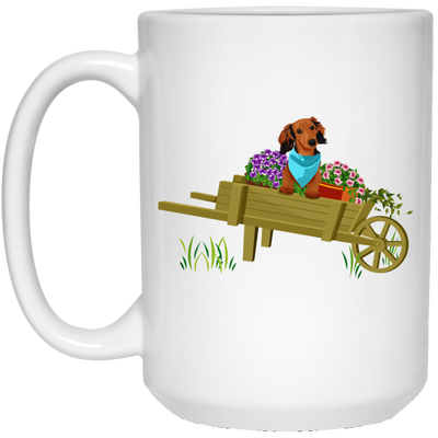 Dachshund Brown in Wheelbarrow Mugs