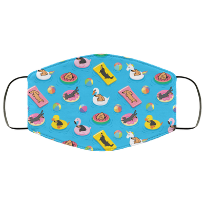 Dachshund Pool Party Reusable Washable 3 Layer Cloth Face Mask Printed and Ships Fast from USA