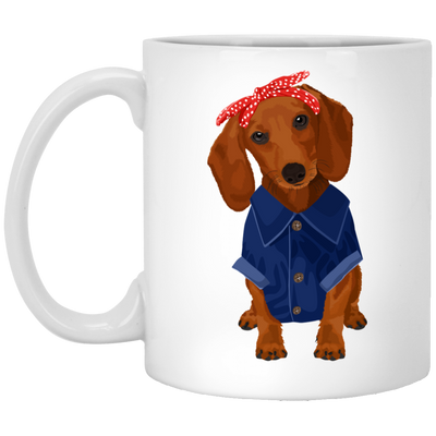Dachshund Brown Dog Rosie the Riveter Mugs