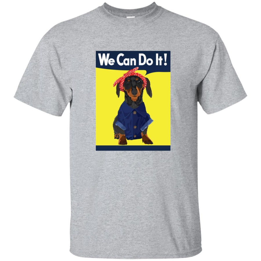 Dachshund Rosie the Riveter Black & Tan We Can Do It Shirts