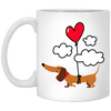 Dachshund Up Up and Away Heart Balloon Mugs
