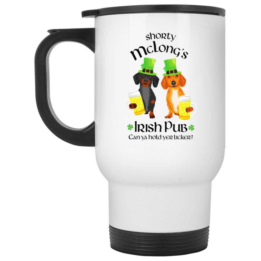 Dachshund Shorty McLong's Irish Pub Travel Mug