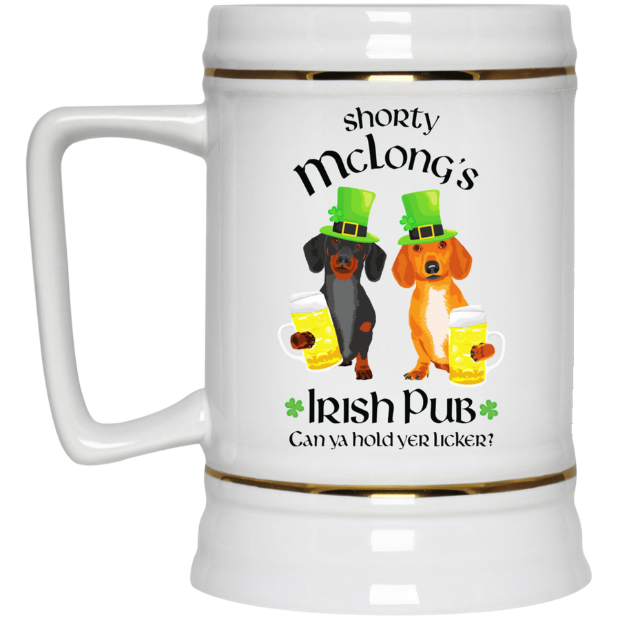 Dachshund Shorty McLong's Irish Pub Beer Stein 22oz.