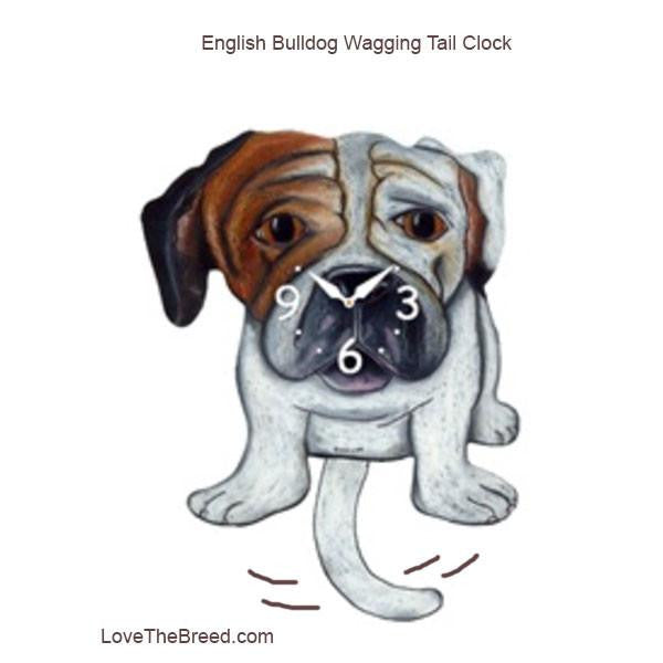English Bulldog Wagging Tail Clock