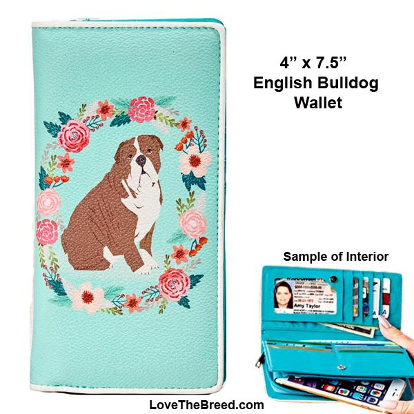 English Bulldog Floral Wallet