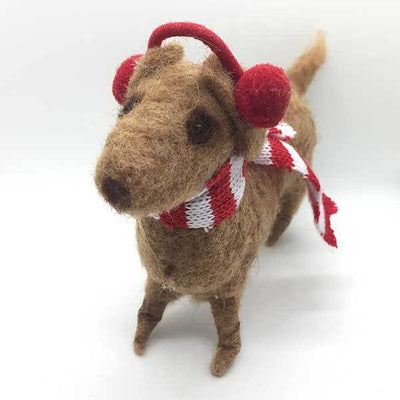 Felted Holiday Dachshund with Scarf and Earmuffs