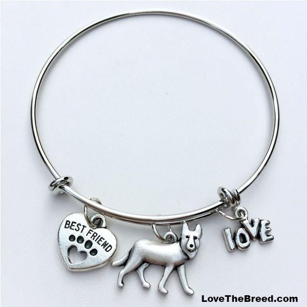 German Shepherd Best Friend Love Charm Bracelet