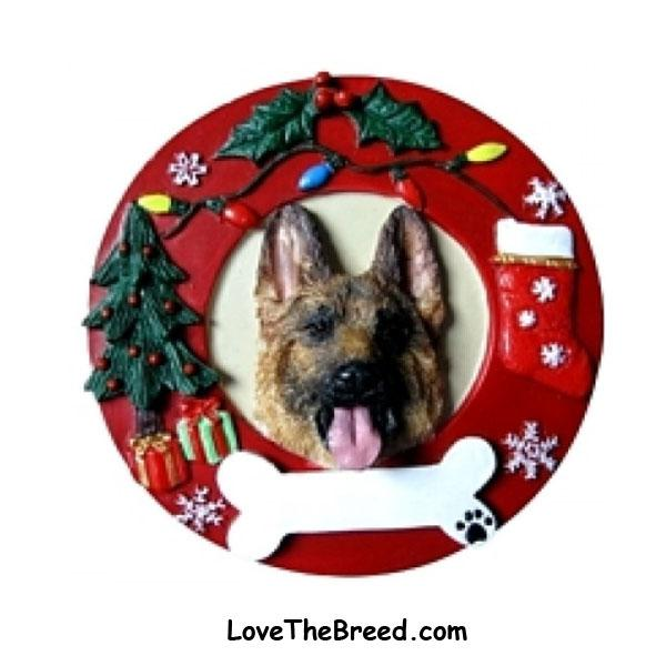 German Shepherd Wreath Ornament - You Can Personalize