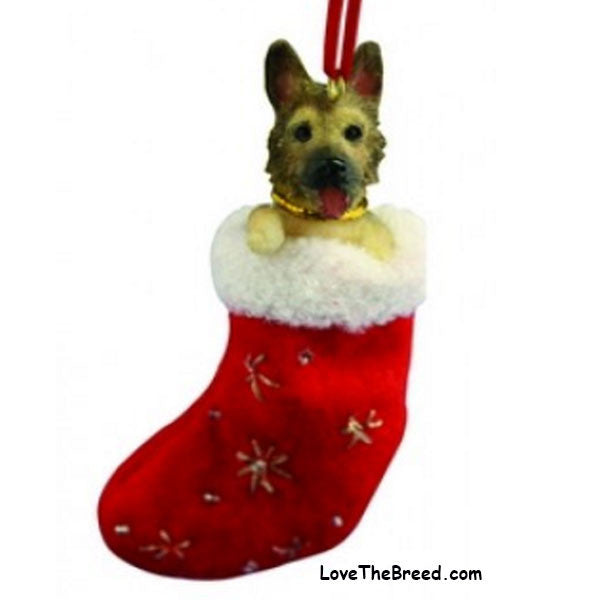 German Shepherd Holiday Ornament in Stocking