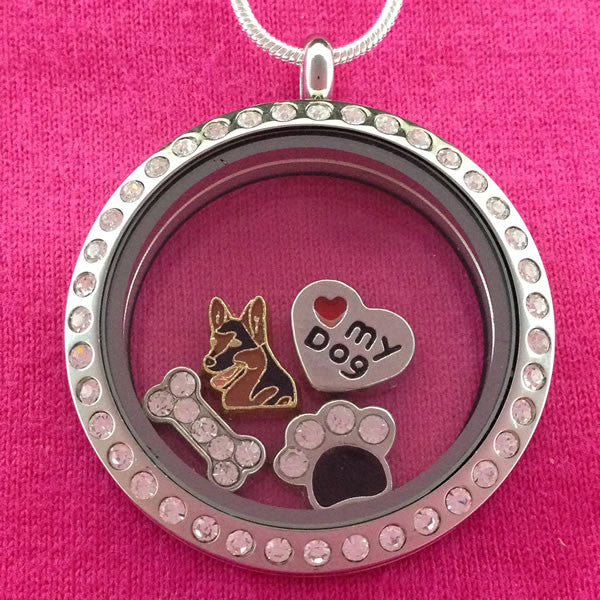 German Shepherd Floating Charm Locket Necklace - Circle with Crystals
