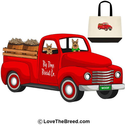 German Shepherd Biscuit Truck Extra Large Tote