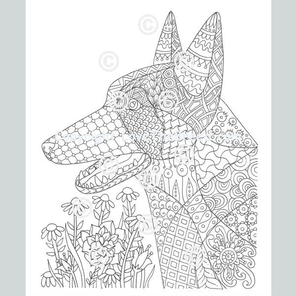German Shepherd Coloring Book for Adults and Children