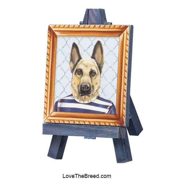 German Shepherd Mini Portrait on and Easel