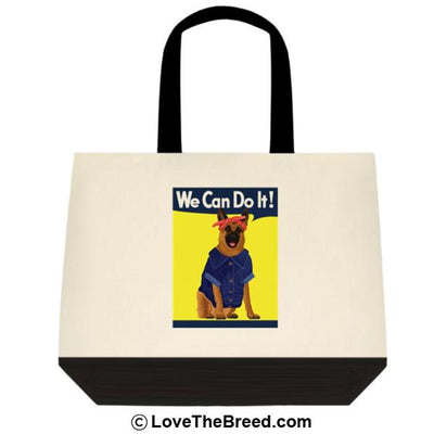German Shepherd Rosie the Riveter We Can Do It Extra Large Tote