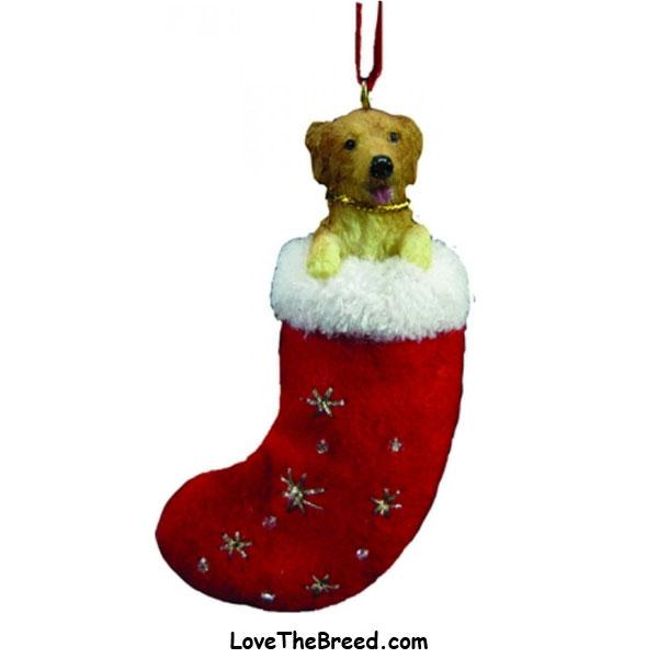 Golden Retriever Holiday Ornament in Stocking