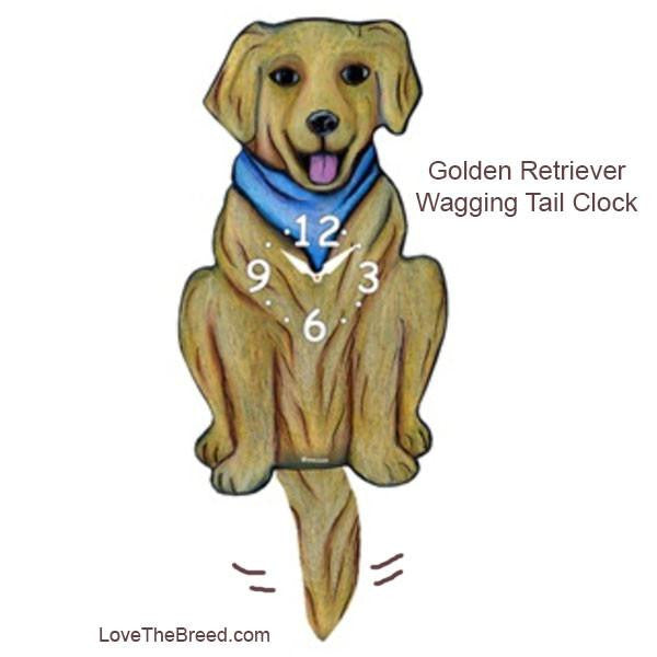 Golden Retriever Wagging Tail Clock