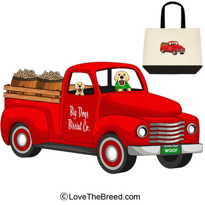 Golden Retriever Biscuit Truck Extra Large Tote