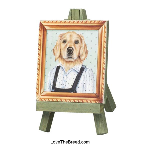 Golden Retriever Mini Portrait on and Easel