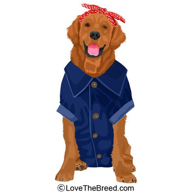 Golden Retriever Rosie the Riveter DOG Extra Large Tote