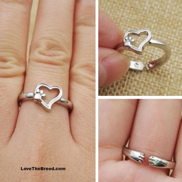 Heart with Paws Hugging Ring Sterling Silver