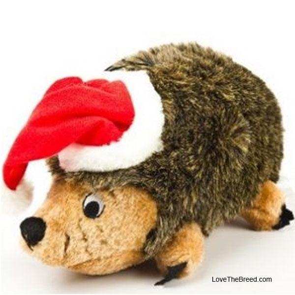 Holiday Junior Hedgehog with Santa Hat Dog Toy