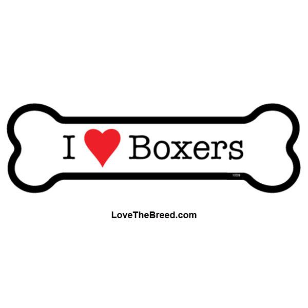 I Love Boxers Bone Magnet