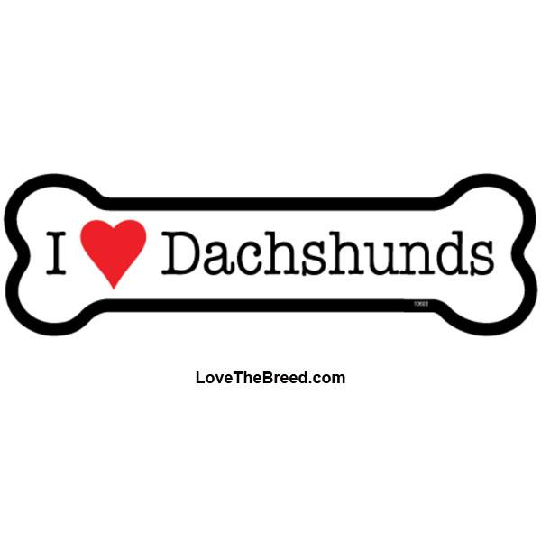 I Love Dachshunds Bone Magnet
