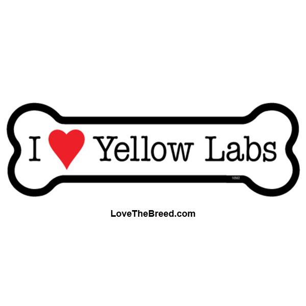 I Love Yellow Labs Bone Magnet